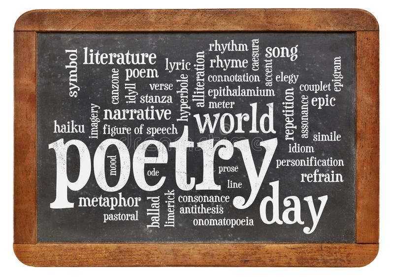 World poetry day -word cloud. World poetry day word cloud - white chalk text on a slate blackboard isolated on white stock illustration