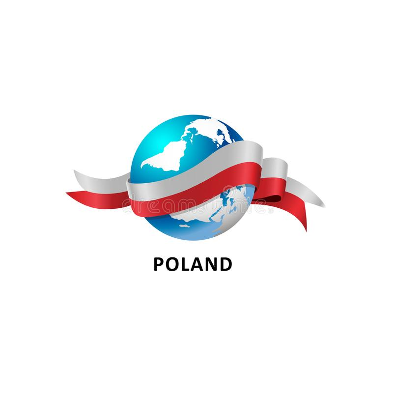 World with poland flag vector illustration