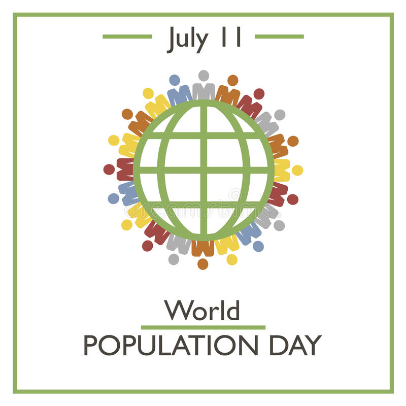 World Population Day, July 11 stock illustration
