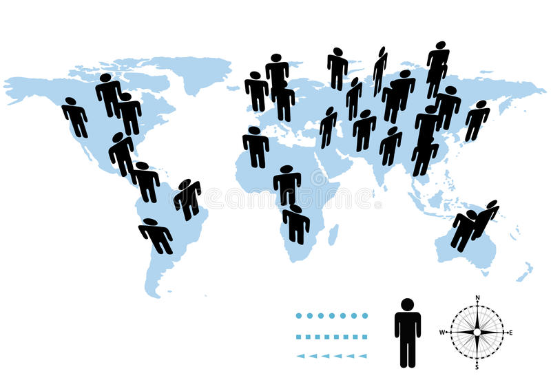World Population Earth Symbol People On Map Stock Photo