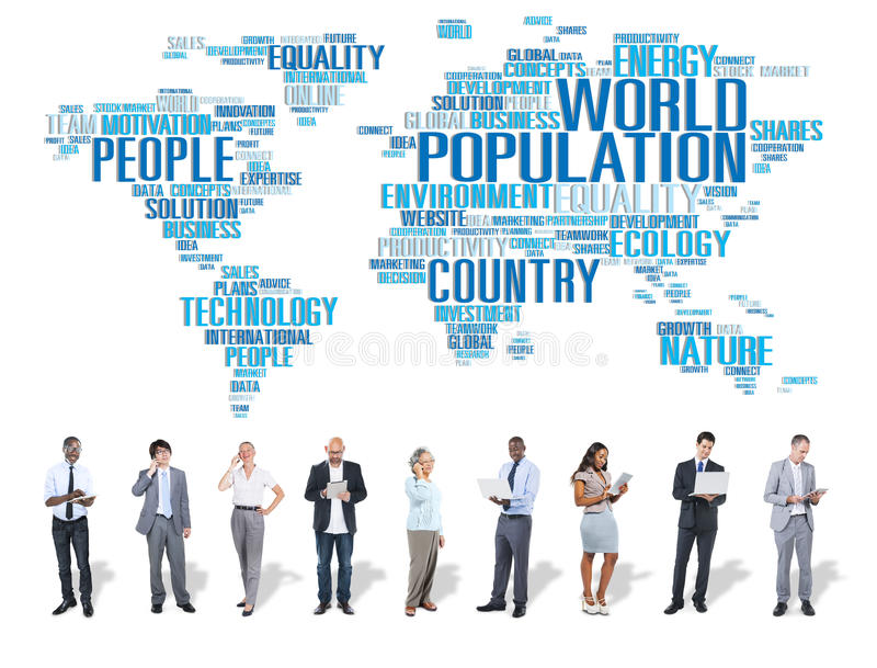 World Population Global People Community International Concept stock illustration