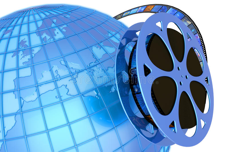 World premiere. Film reel around the globe. Hi-res digitally generated image stock illustration