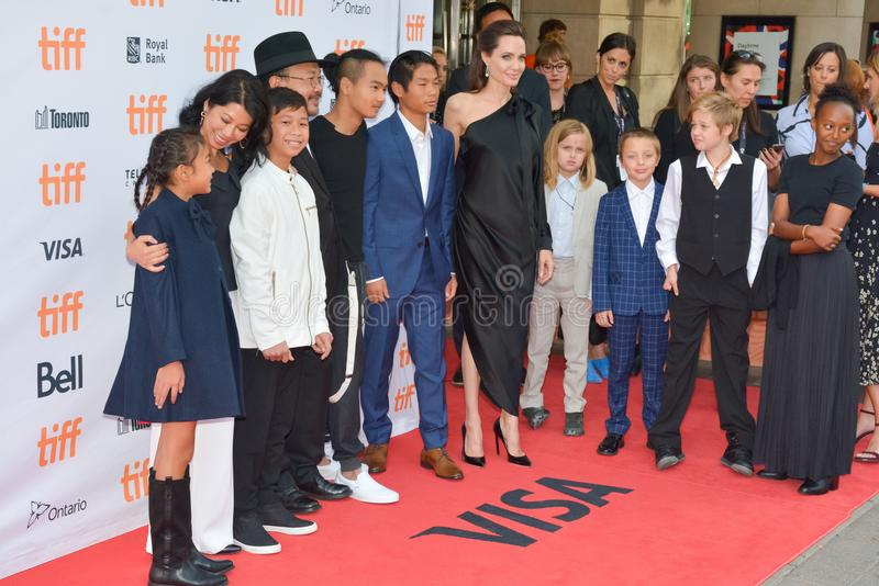 World Premiere of `First They Killed My Father` with Director Angelina Jolie at Toronto International Film Festival. Angelina Jolie, kids and cast members at the stock photography