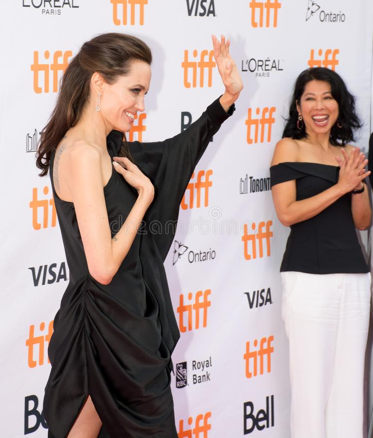 World Premiere of `First They Killed My Father` with Director Angelina Jolie at Toronto International Film Festival. Angelina Jolie and Loung Ung at the World royalty free stock photo