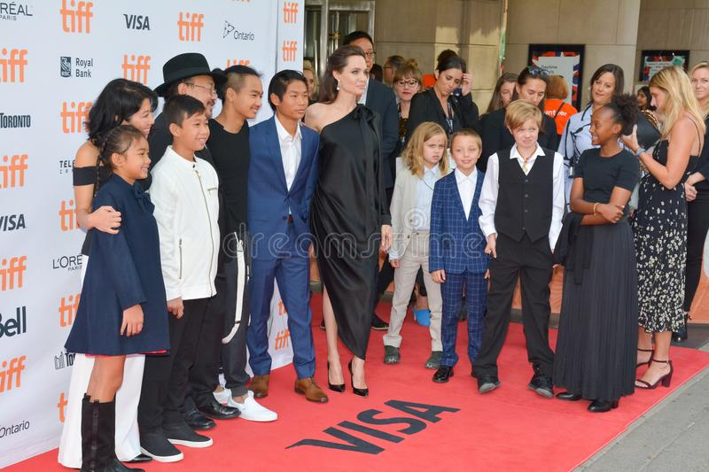 World Premiere of `First They Killed My Father` with Director Angelina Jolie at Toronto International Film Festival. Angelina Jolie, main cast and her kids at stock image