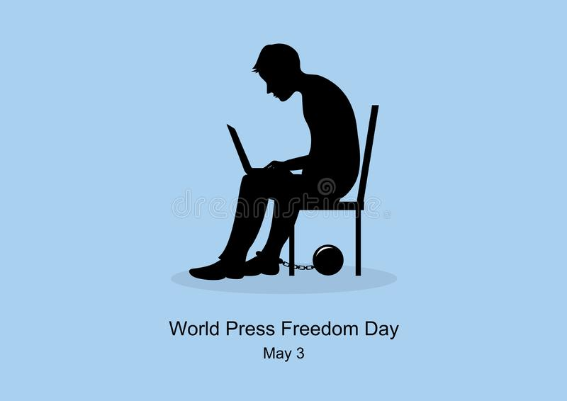 World Press Freedom Day vector. Sitting man with computer on his lap. Black silhouette of a seated man. Captive man figure icon. Important day stock illustration