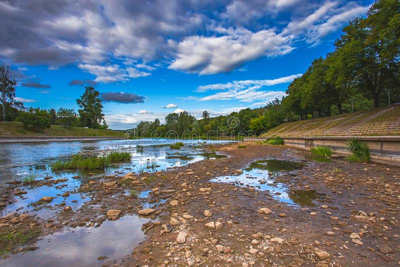 World problem with global warming, Dryed Neris river in Vilnius, Lithuania. Europe stock photography