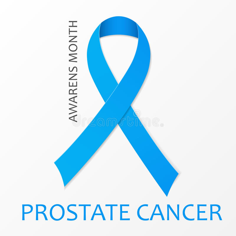 World Prostate Cancer Day poster. Blue ribbon. stock illustration