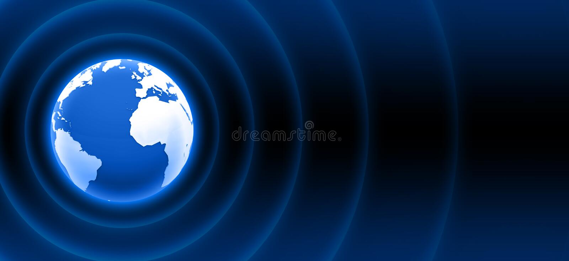 World radar waves blue white 03. 3D earth white blue with radar waves stock illustration