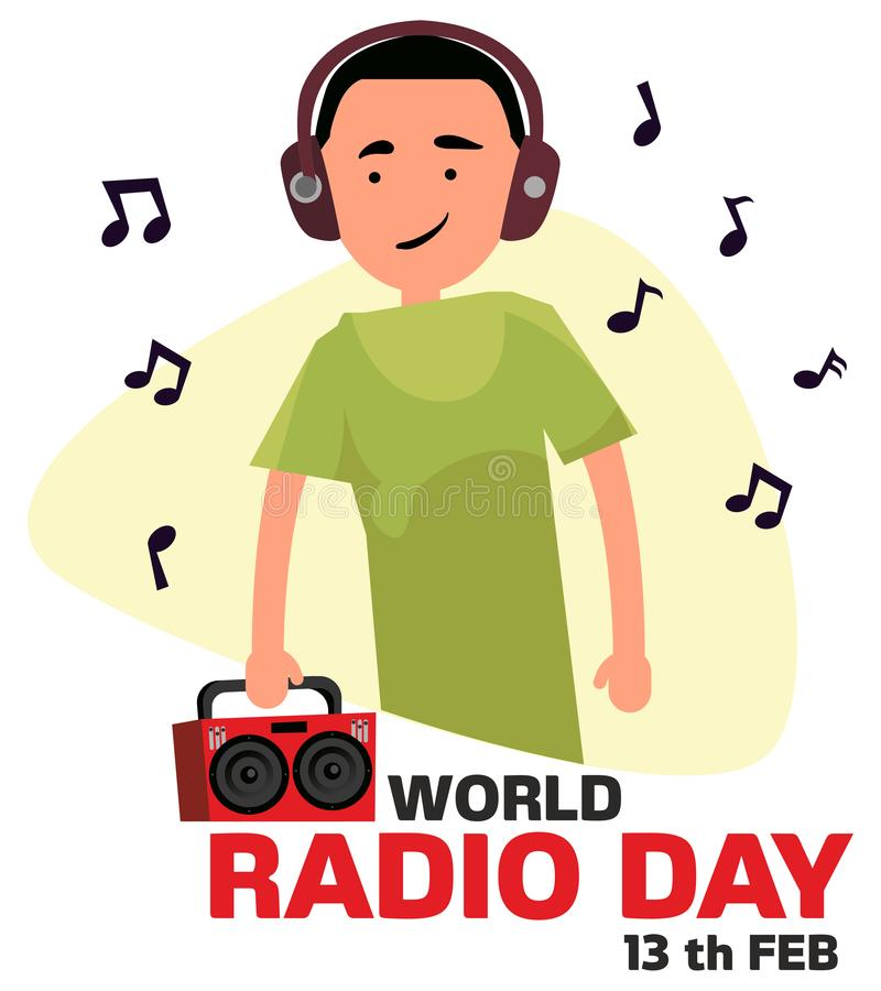 World radio day. The guy listens to the radio in headphones vector illustration stock photo