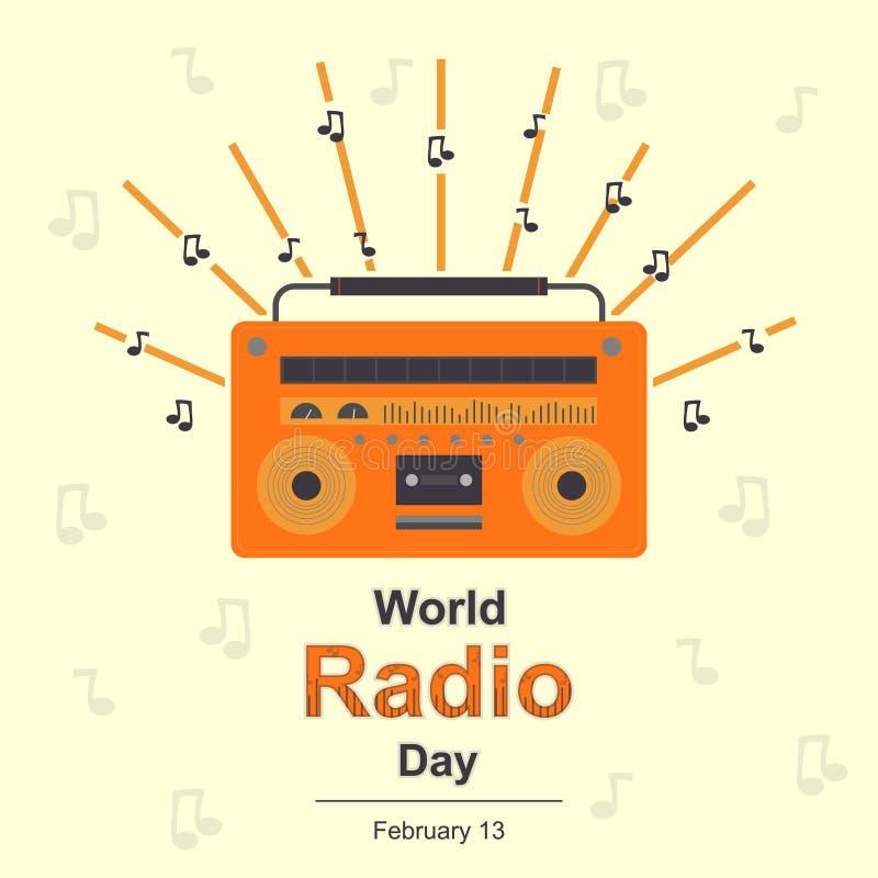 World Radio Day, 13 February. royalty free illustration