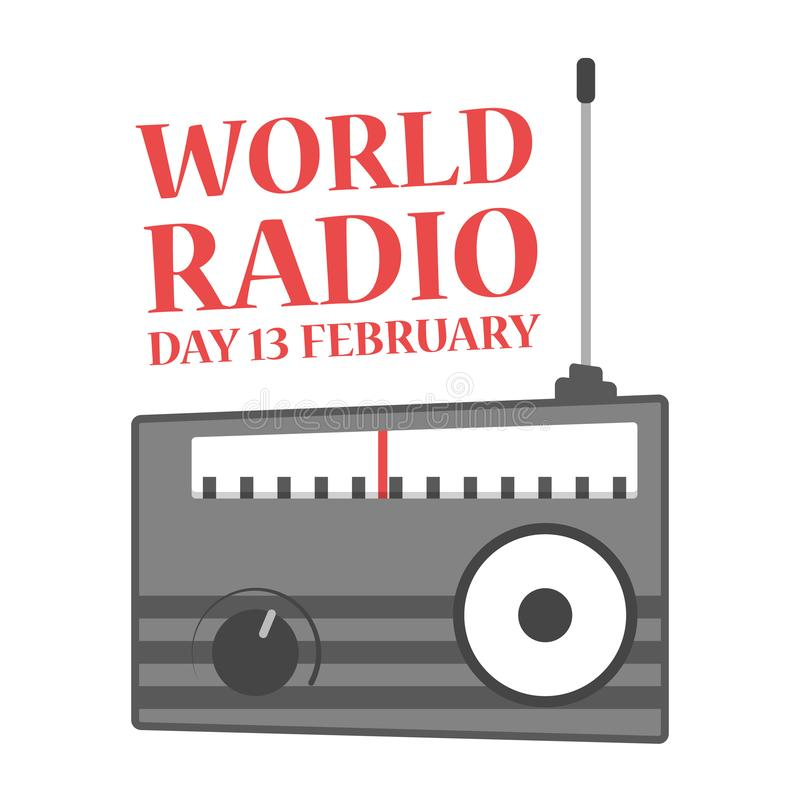 World radio day. Holiday on the february royalty free illustration