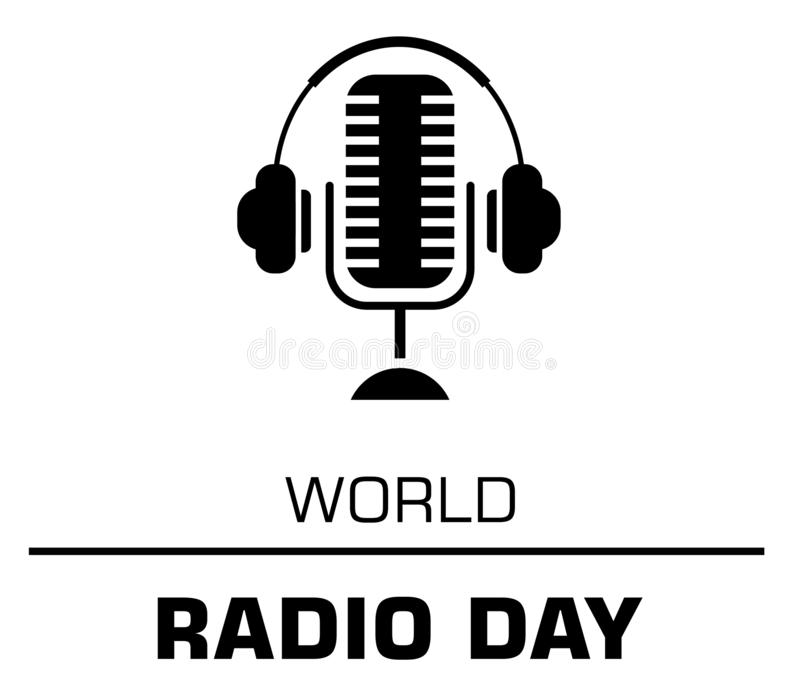 World radio day logo concept on the white background stock images