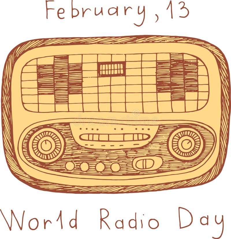 World Radio Day poster. Doodle scribble cartoon art with words. stock illustration