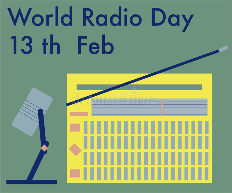 World radio day stock illustration