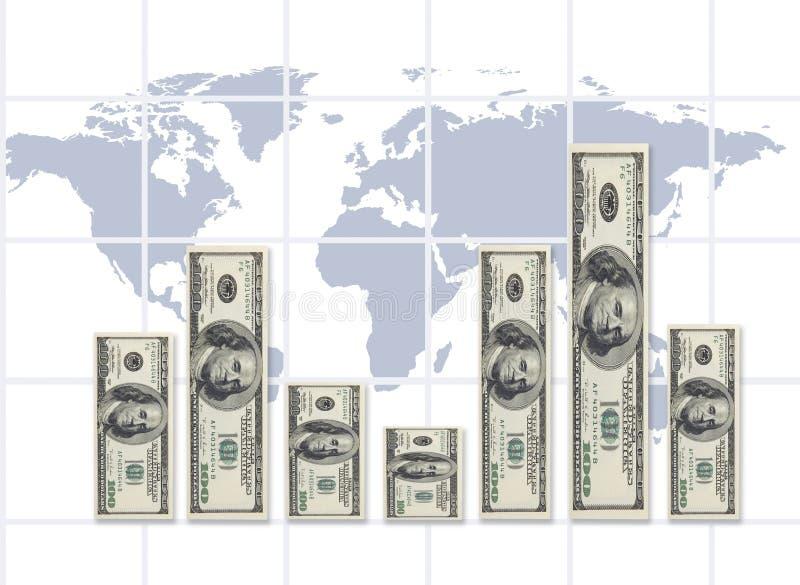 World rate of exchange(money concept) stock illustration