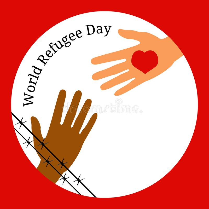 World Refugee Day. The hand behind the barbed wire stretches to the hand with the heart. vector illustration