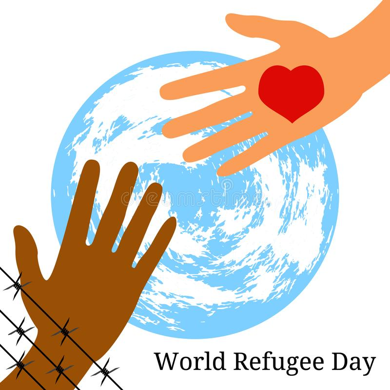 World Refugee Day. The hand behind the barbed wire stretches to the hand with the heart. Symbolic planet Earth vector illustration