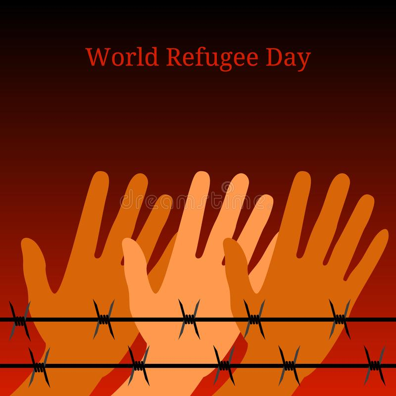World Refugee Day. Hands behind barbed wire. Background symbolizes a fire at night vector illustration