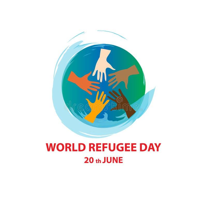 World refugee day on june 20th stock illustration