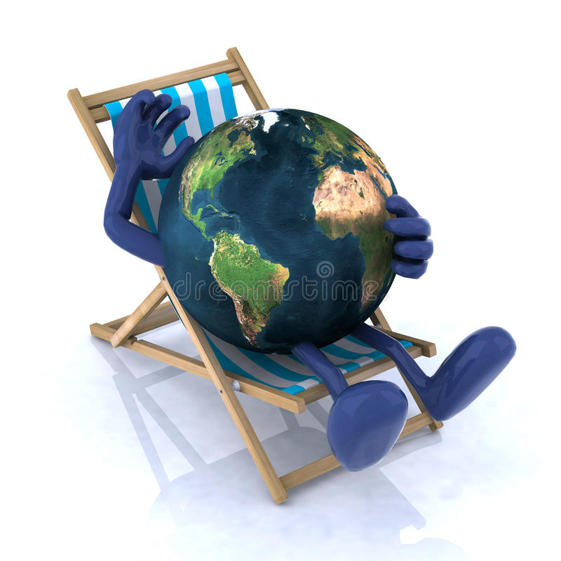 The World Relaxing On A Beach Chair Stock Photography