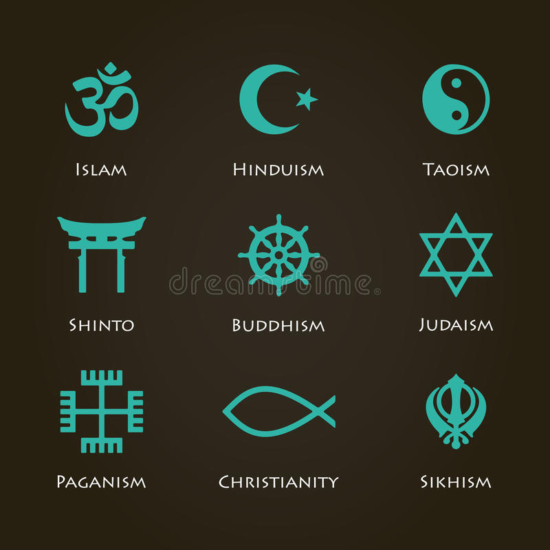 World religion symbols. Cyan color set with christian, Jewish, Islam etc royalty free illustration