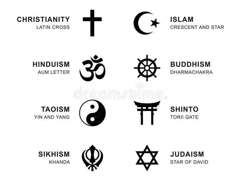 World Religion Symbols With English Labeling Stock Vector