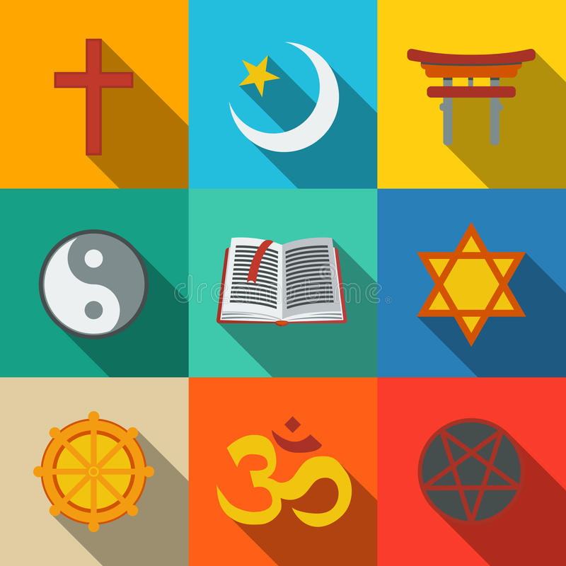 World religion symbols flat set - christian. World religion symbols flat set with - christian and Jewish, Islam, Buddhism, Hinduism, Taoism, Shinto, pentagram vector illustration