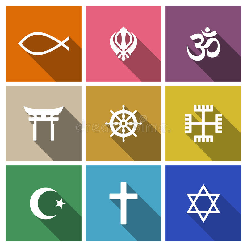 World religion symbols flat set. With christian, Jewish, Islam etc stock illustration