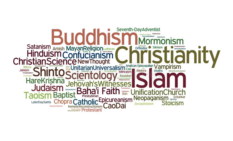 World Religions. A cloud of words of the names of organized religions and sects around the world