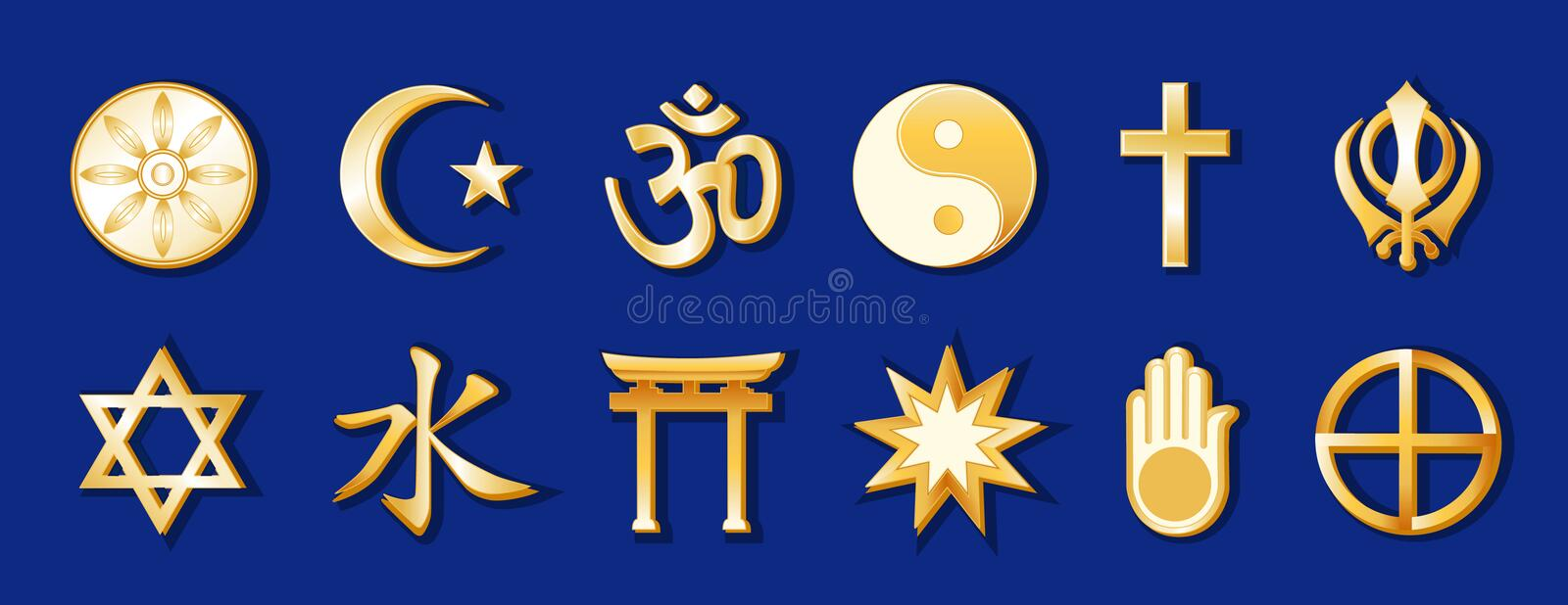 World Religions, Gold on Royal Blue