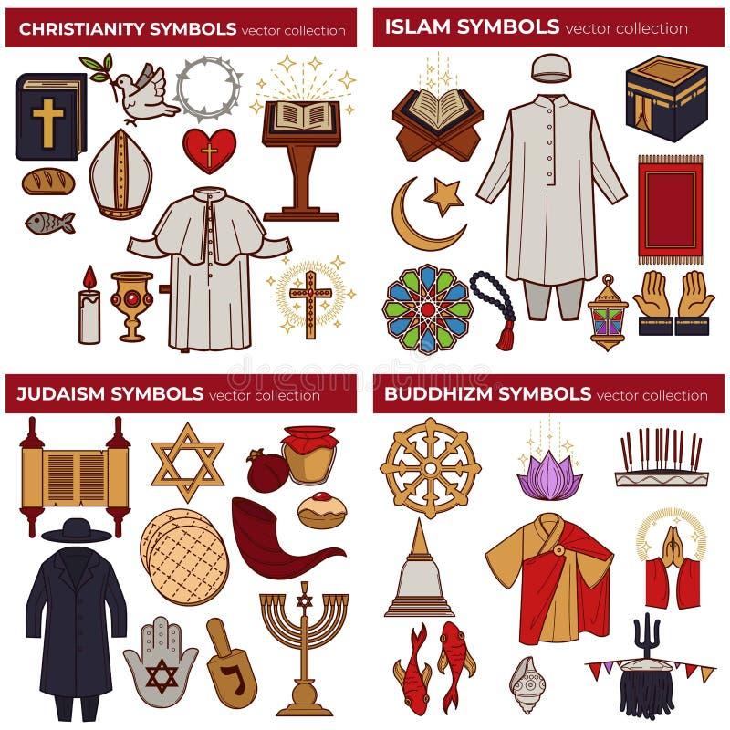 World religions symbols Christianity and Islam Judaism and Buddhism. Christianity and Islam Judaism and Buddhism world religions symbols vector bible and koran vector illustration