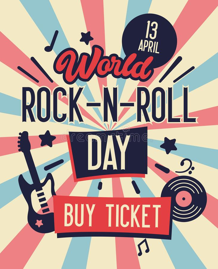 World Rock and Roll Day Typography Banner. Buy Ticket on Concert at Lowest Rate Live Music with Electric Guitar and Place for Text vector illustration