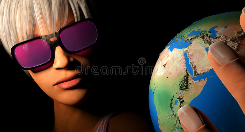 World rose colored glasses. Woman seeing the earth through rose coloured glasses royalty free illustration