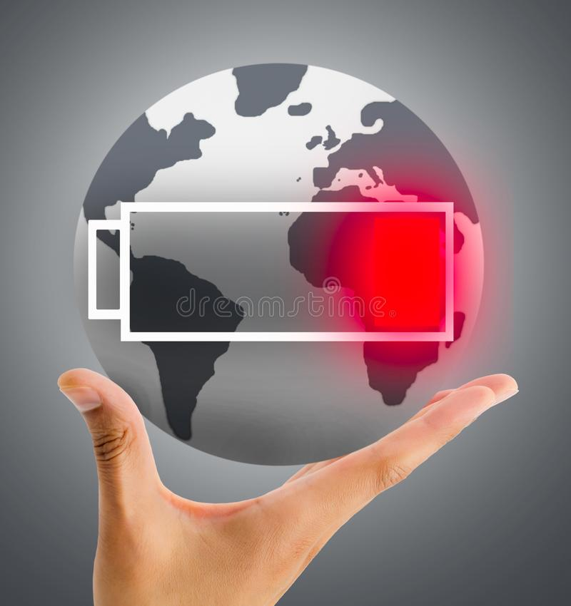 The world runs out of battery royalty free stock photography