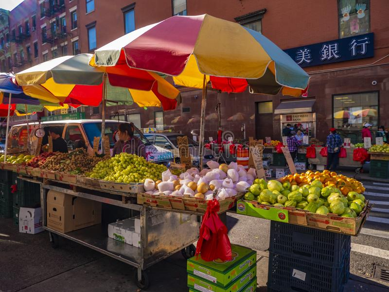 World`s abundance. Fruits and vegetables market in the Chinese district in Ne York, United States of America. royalty free stock photo