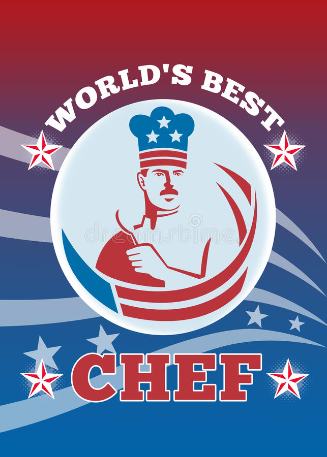 Worlds Best American Chef Greeting Card Poster stock illustration