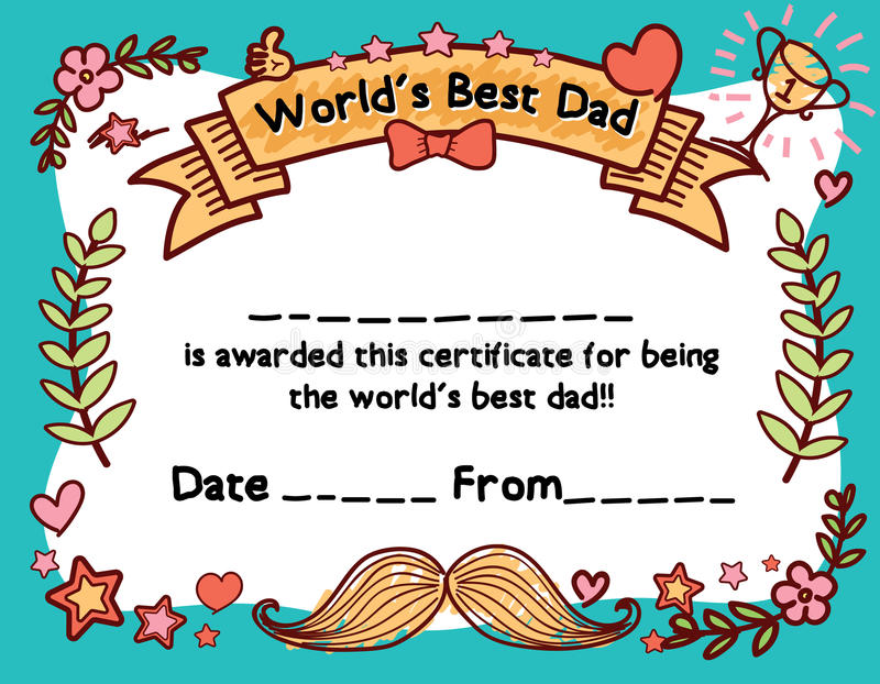 download worlds best dad award certificate template stock vector illustration of hand