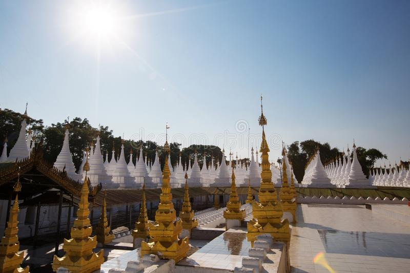 The World`s biggest book Inscribing on the 729 marble stone slabs, Mandalay city in Myanmar. stock images