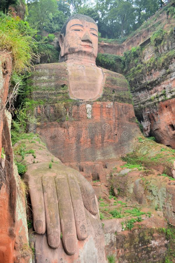 World's biggest Buddha in Leshan, China. The Leshan Giant Buddha, the largest stone Buddha in the world and it is by far the tallest pre-modern statue in the royalty free stock photos