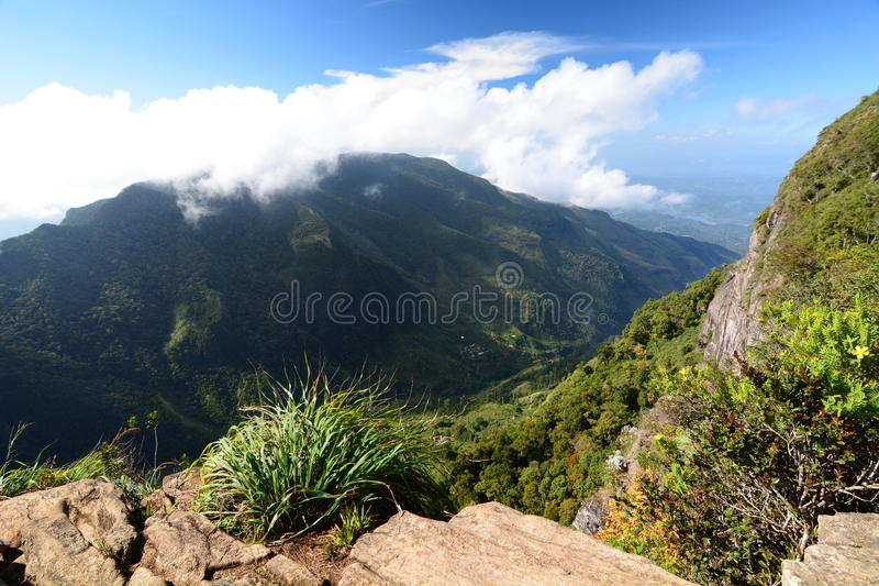 World`s End. Horton Plains. Sri Lanka. Horton Plains National Park is a protected area in the central highlands of Sri Lanka and is covered by montane grassland royalty free stock images