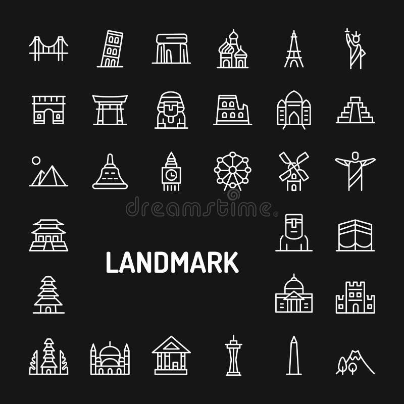World`s Famous Landmark Simple Line Icon Set vector illustration