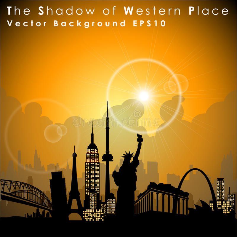 World's famous landmarks and monuments. Western Place. Vector Illustration royalty free illustration