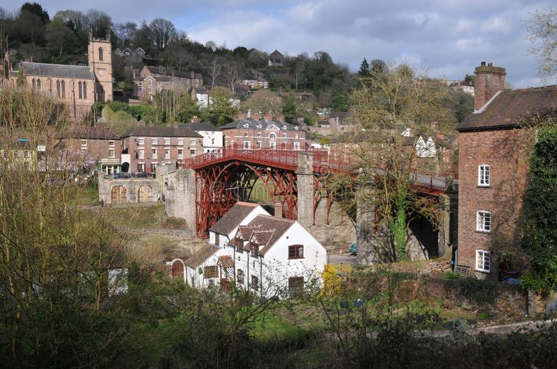 Coalbrookdale cast-iron bridge. The world`s first cast iron bridge built in 1779 over the River Severn in Coalbrookdale Shropshire from which the small town stock photo