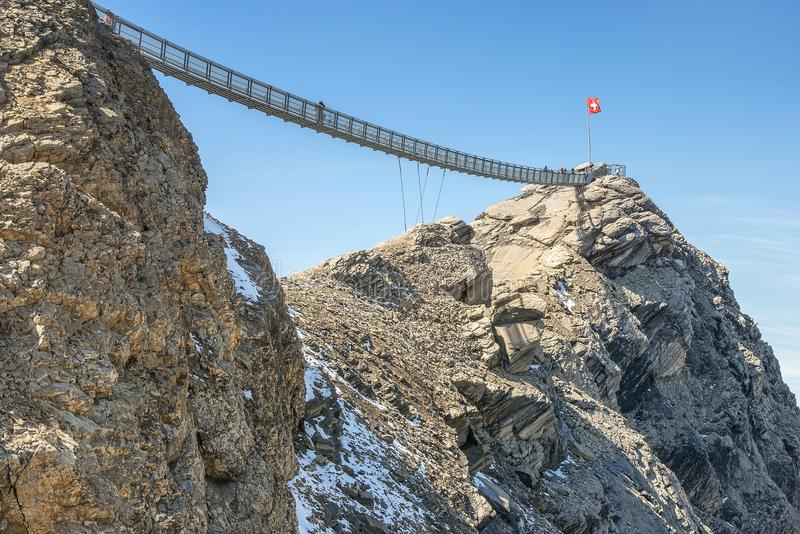 Suspension bridge, Glacier 3000 in Switzerland. The world`s first suspension bridge connecting two mountain peaks, Peak Walk at Glacier 3000 in Switzerland royalty free stock image