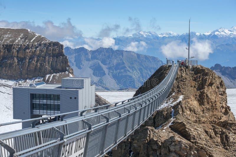 Suspension bridge, Glacier 3000 in Switzerland. The world`s first suspension bridge connecting two mountain peaks, Peak Walk at Glacier 3000 in Switzerland royalty free stock photos