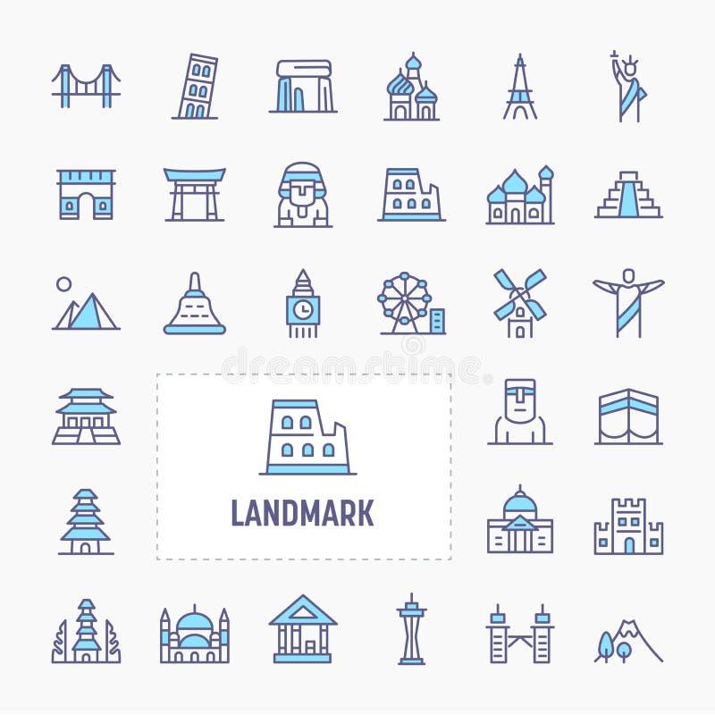 World`s Landmark Minimal Icon Set vector illustration
