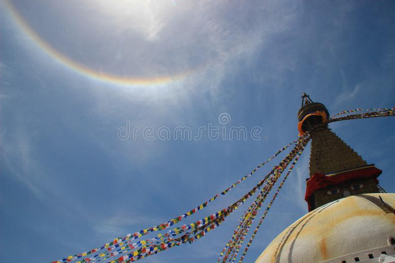 The world`s largest Buddhist stupa Boudhanath in Kathmandu. The main temple of the Buddhists. The roof of the temple with Tibeta stock image