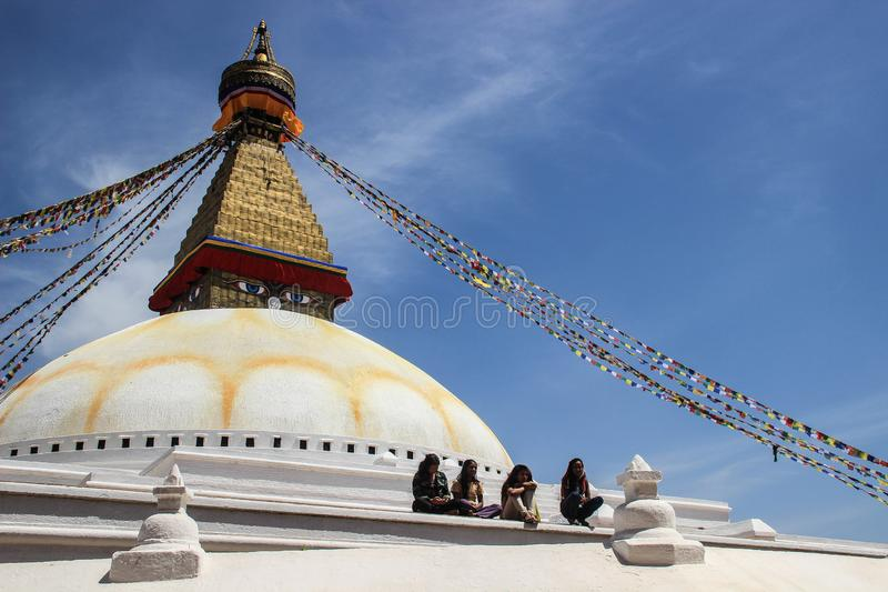 The world`s largest Buddhist stupa Boudhanath in Kathmandu. The main temple of the Buddhists. The roof of the temple with Tibetan stock photos