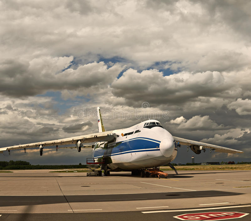 The world`s largest cargo plane Ruslan Russia formaintenance at the airport in Leipzig royalty free stock photography